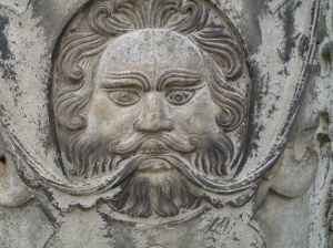 Stone Face on a gate pillar.